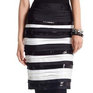 NWT White House Black Market Stripe Layered Skirt